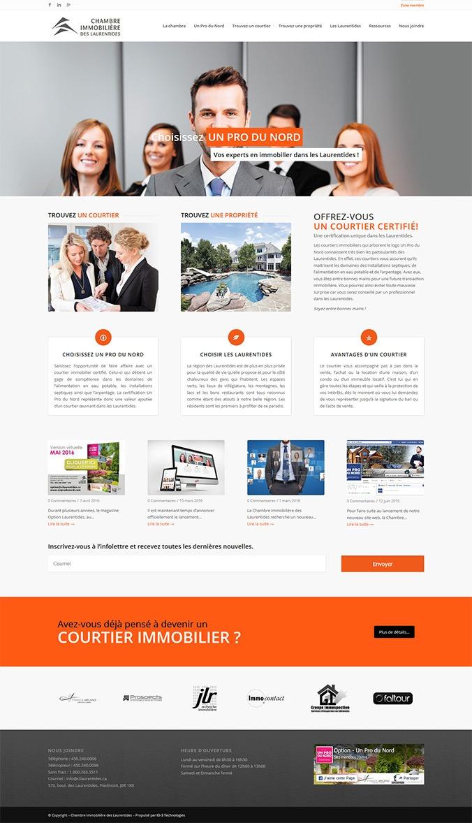 site web Chambre-immobilière-des-Laurentides par ID-3 Technologies