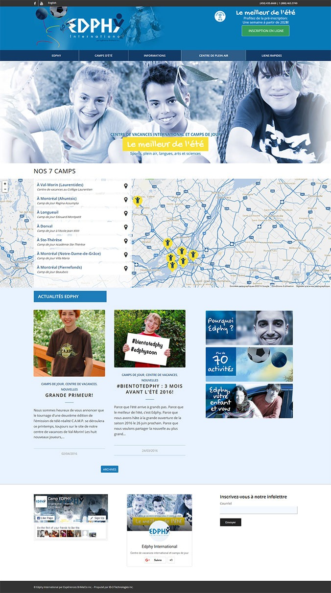 site web Edphy International camps de jour et vacances par ID-3 Technologies
