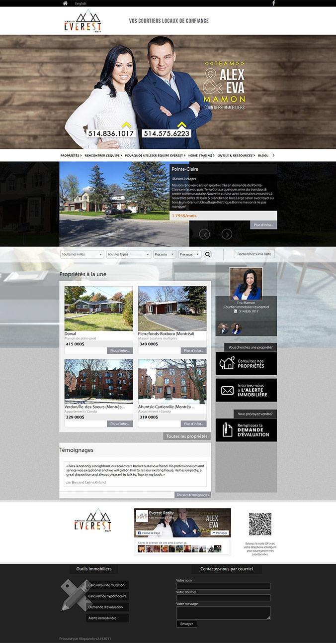 site web agence immobilière Everest immobilier